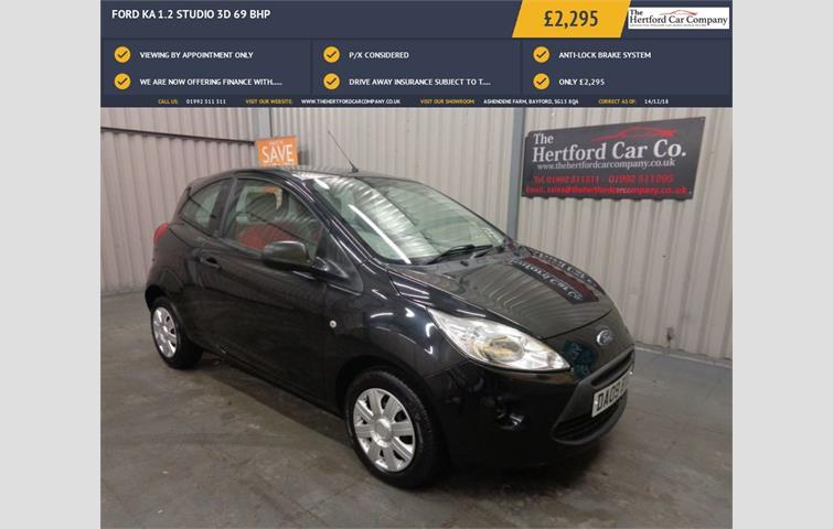 Ford Ka  L Petrol Engine With Manual Transmission Hatchback In Black Colour