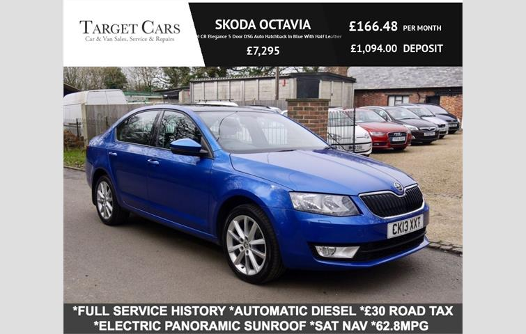 SKODA OCTAVIA 2 0 TDI CR Elegance 5 Door DSG Auto Hatchback In Blue With  Half Leather Blue 2013 | Ref: 7829225