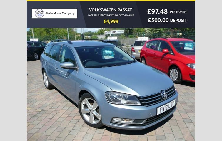 Make: Volkswagen, Model: Passat, Colour: Grey, Year: 2012, Mileage: 121,307, Fuel: Diesel, Transmission: Manual, Body Type: Estate, Price: £4,999, Advert ID: 8603693
